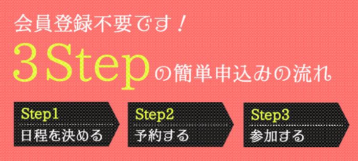 会員登録不要!3STEPの簡単申込みの流れ ◆STEP1 イベントの日程を決める ◆STEP2 予約する ◆STEP3 参加する