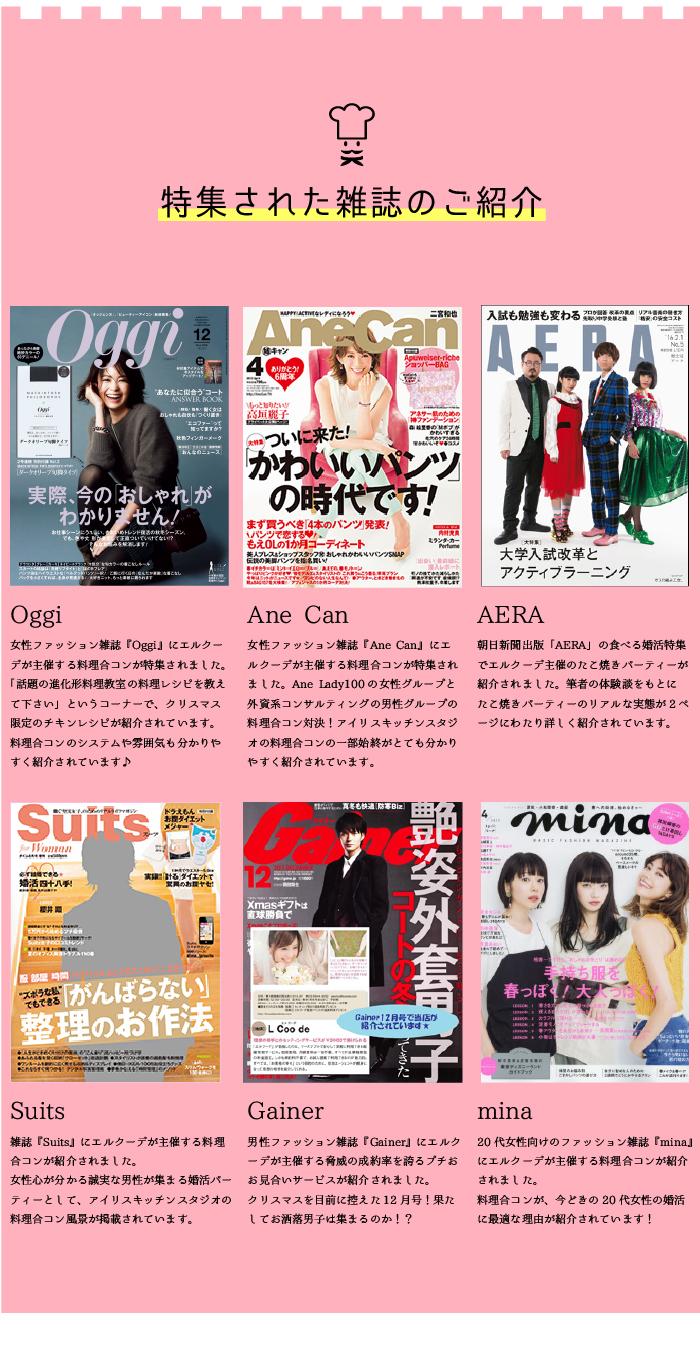 特集された雑誌は、ANECAN、Oggi、mina、AERA、Gainer、suitsなど。